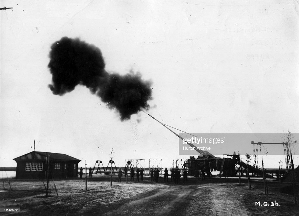 Big Bertha the Howitzer L/14 manufactured by the German industrialist Gustav Krupp With a range of 122km it bombarded Paris for 20 months during 1917