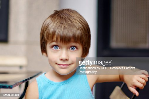 big blue eyes boy stock foto getty images. Black Bedroom Furniture Sets. Home Design Ideas