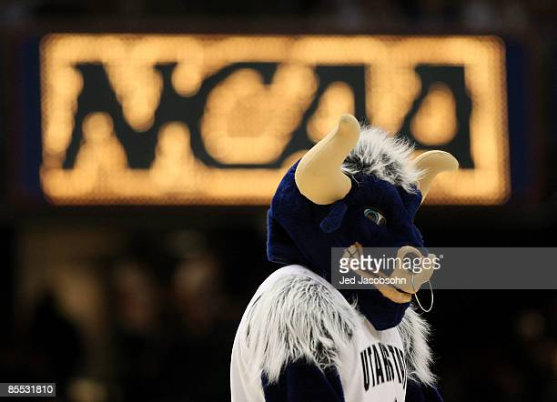 Big Blue mascot of the Utah State Aggies stands on the court during the game against the Marquette Golden Eagles in the first round of the NCAA...