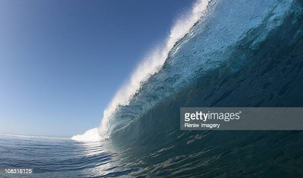 big blue wave crashes down