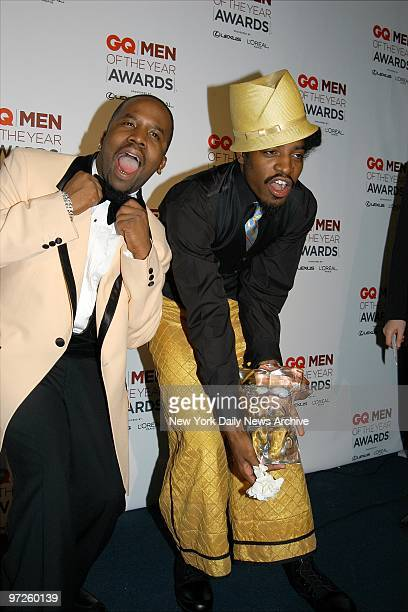 Big Boi and Andre 3000 of OutKast cut up a bit after collecting their trophy at the seventh annual GQ Men of the Year Awards presentations at the...