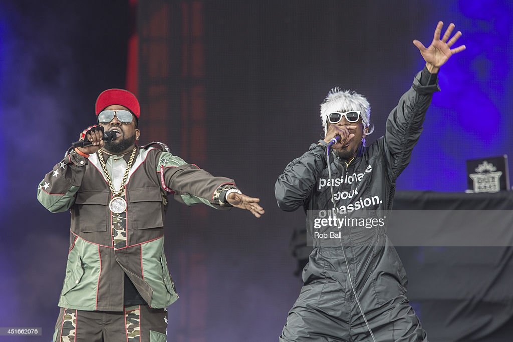Big Boi and Andre 3000 of Outkast perform at the Roskilde Festival 2014 on July 3, 2014 in Roskilde, Denmark.