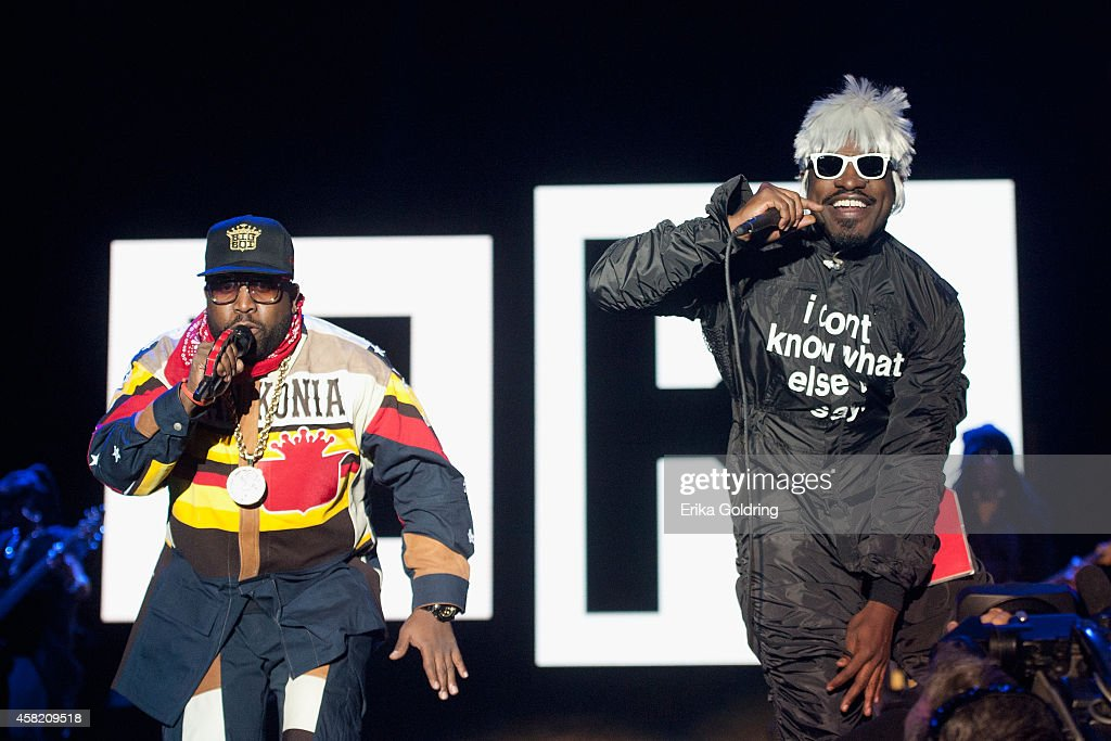 Big Boi and Andre 3000 of Outkast perform during Voodoo Fest at New Orleans City Park on October 31 2014 in New Orleans Louisiana