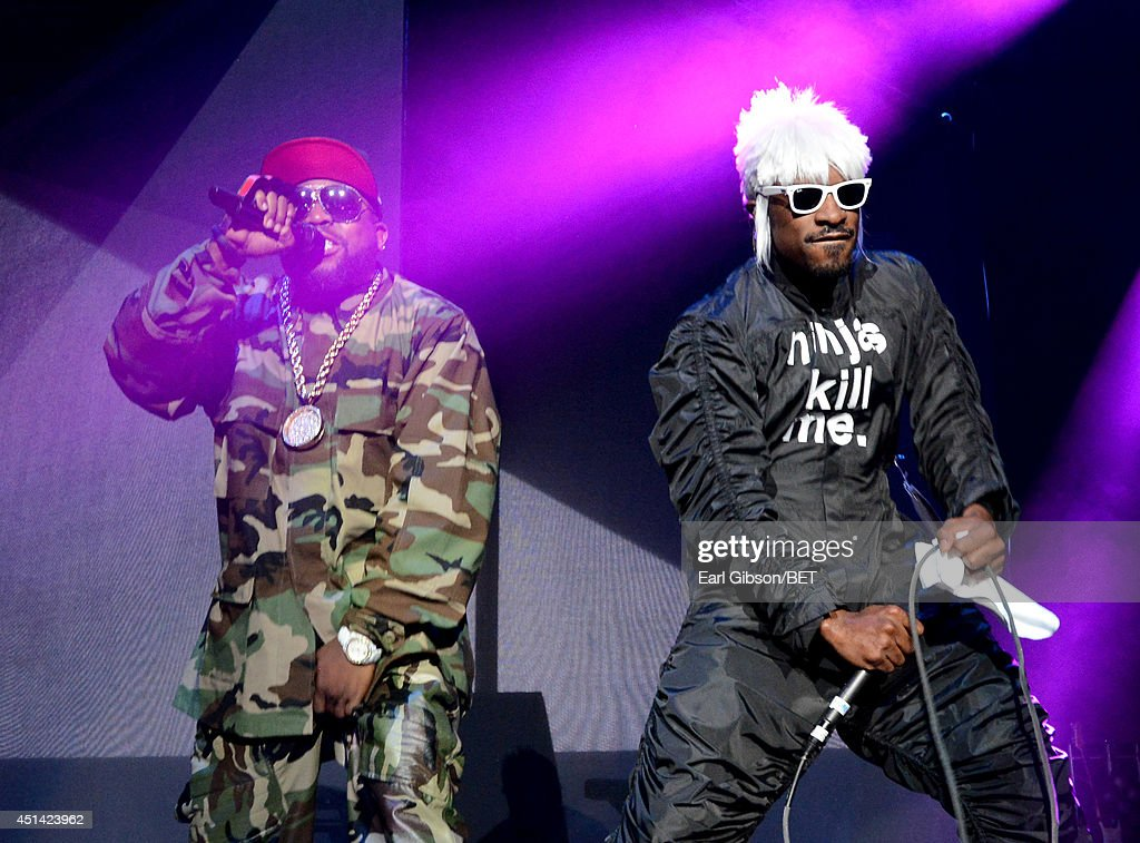 Big Boi (L) and Andre 3000 of Outkast perform onstage at the OutKast, A$AP Rocky, Rick Ross, K. Michelle, August Alsina & Ty Dolla $ign Presented By Sprite during the 2014 BET Experience At L.A. LIVE on June 28, 2014 in Los Angeles, California.