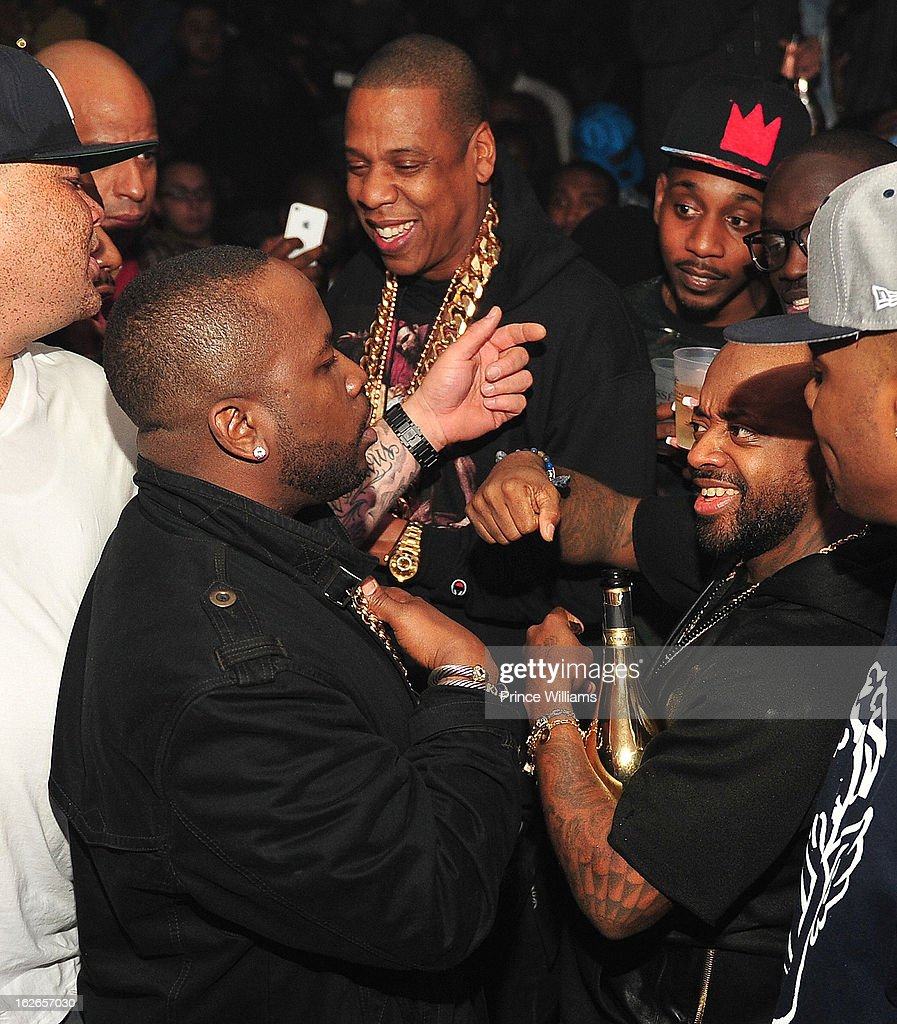 Big Boi, Jay-Z and Jermain Dupri attend the So So Def anniversary party hosted by Jay Z at Compound on February 23, 2013 in Atlanta, Georgia.