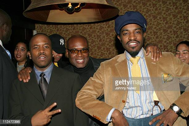 Big Boi of Outkast Antonio 'LA' Reid of Arista and Andre 3000 of Outkast