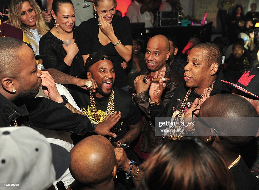 Big Boi, Young Jeezy, Jay-Z, Bu Thiam and Jermain Dupri attend the So So Def anniversary party hosted by Jay Z at Compound on February 23, 2013 in Atlanta, Georgia.