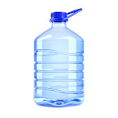 Big bottle of water on a white background 3d rendering