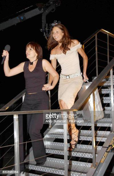 Big Brother 3 contestant Sophie accompanied by hostess Davina McCall leaves the house at Elstree Studios in Borehamwood to become the fifth housemate...