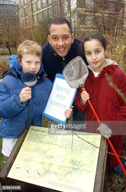 Big Brother's John Tickle looks for the first signs of Spring with nine year old Benjamin Holgate of London and Sarah Jacobs of Cambridge at the...