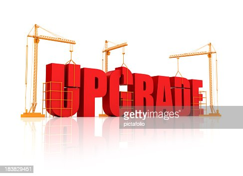 Big bulky red letters on an orange crane saying upgrade