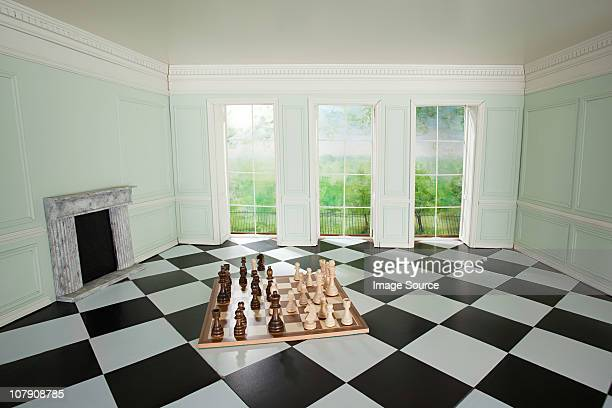 Big chess set in small room