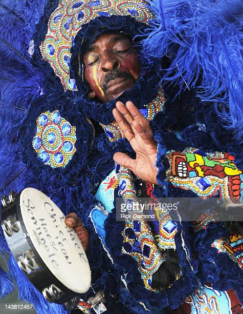 Big Chief Iron Horse the Black Seminoles Mardi Gras Indians perform during the 2012 New Orleans Jazz Heritage Festival Day 4 at the Fair Grounds Race...