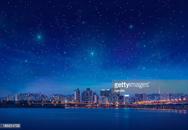 Big city by starry night