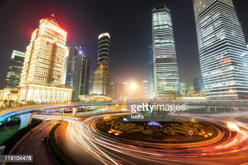 big city lights of shanghai stock photo getty images. Black Bedroom Furniture Sets. Home Design Ideas