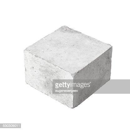 Big concrete construction block isolated on white : Stock Photo