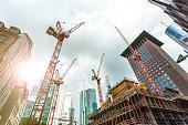 Big construction site in Frankfurt with sunlight
