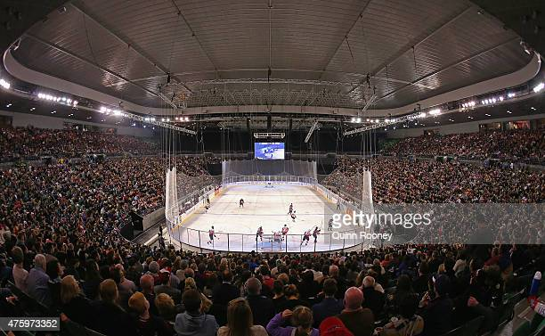 A big crowd turn out to watch the 2015 Ice Hockey Classic match between the United States of America and Canada at Rod Laver Arena on June 5 2015 in...