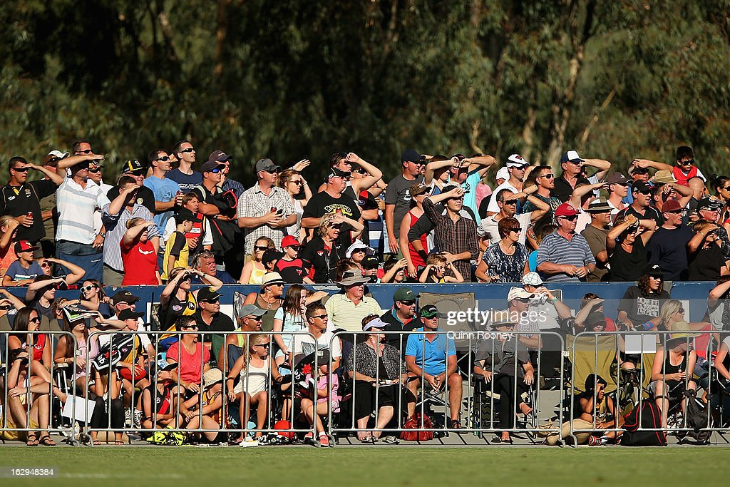 A big crowd turns out to watch the round two AFL NAB Cup match between the Essendon Bombers and the Richmond Tigers at Wangaratta Showgrounds on March 2, 2013 in Wangaratta, Australia.