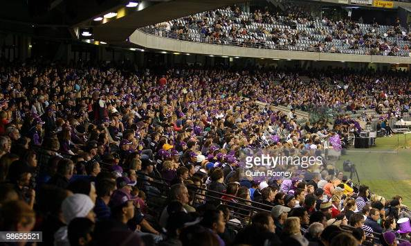 A big crowd watches on during the round seven NRL match between the Melbourne Storm and the Warriors at Etihad Stadium on April 25 2010 in Melbourne...