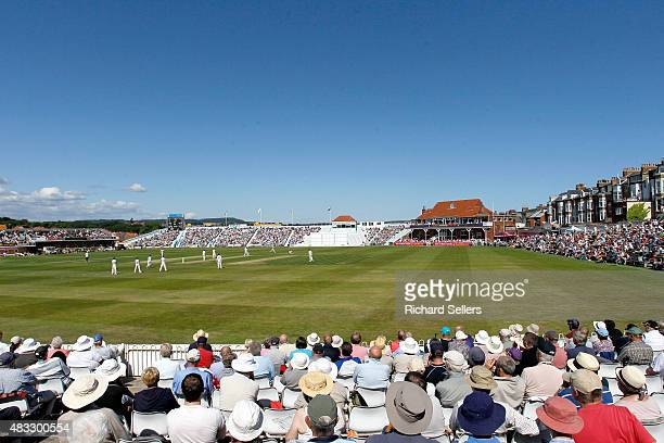 Big crowds enjoy the sunshine at North Marine Road during day one of the LV County Championship division one match between Yorkshire and Durham at...