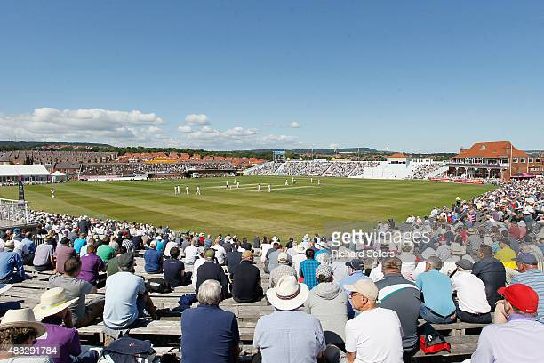 Big crowds enjoy the sunshine during day one of the LV County Championship division one match between Yorkshire and Durham at North Marine Road on...