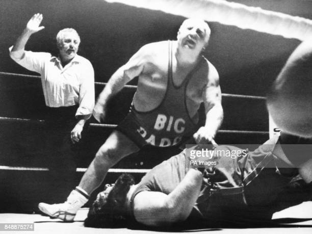 Big Daddy takes down opponent Giant Haystacks at the Spa Royal Hotel in Bridlington just 24 hours after Malcolm 'King Kong' Kirk died from a heart...