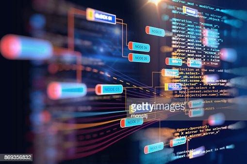 Big data futuristic visualization abstract illustration : Stock Photo