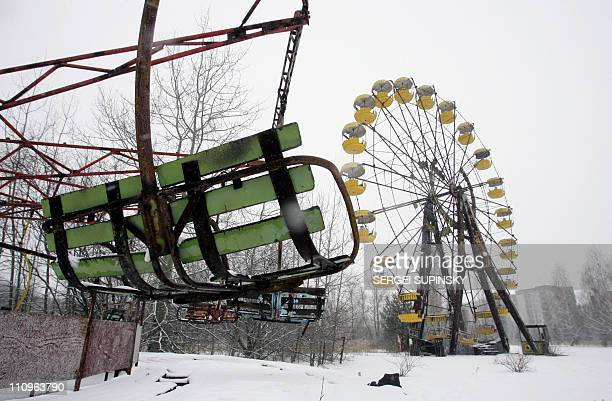 Big dippers are left behind in an amusement park in the ghost town of Pripyat near Chernobyl's nuclear power plant 27 February 2006 Chernobyl's...