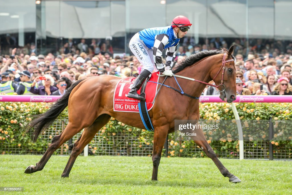 Big Duke (IRE) ridden by Brenton Avdulla heads to the barrier before the Emirates Melbourne Cup at Flemington Racecourse on November 07, 2017 in Flemington, Australia.