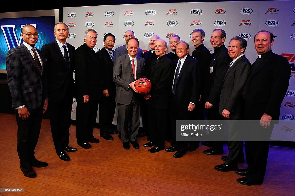 Big East presidents pose for a photo after the New Big East Conference & Fox Sports Media Group Press Event on March 20, 2013 in New York City.