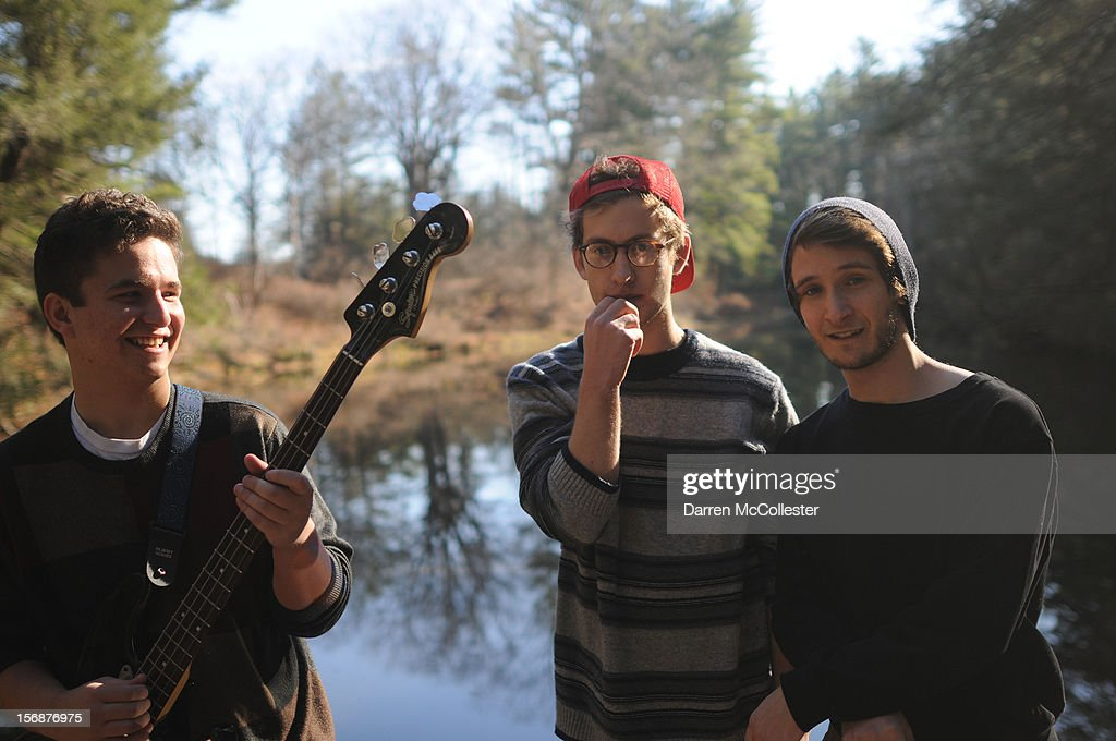 Big Fair, Daniel Alvarez De Toledo, Clayton Vye, and Jordan Dunn-Pilz during their photo shoot at Maudsley State Park on November 23, 2012 in Newburyport, Massachusetts.