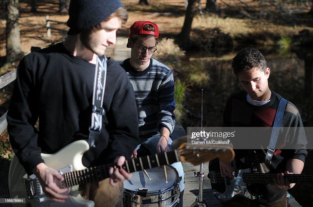 Big Fair, Jordan Dunn-Pilz, Clayton Vye, and Daniel Alvarez De Toledo during their photo shoot at Maudsley State Park on November 23, 2012 in Newburyport, Massachusetts.
