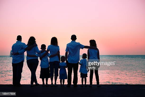 Big family watching the sunset