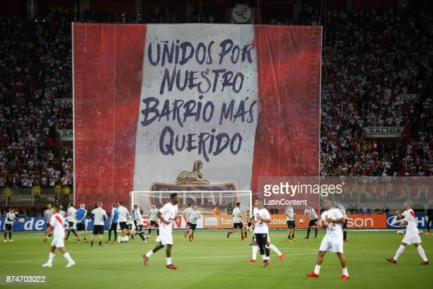 A big flag is displayed before the second leg match between Peru and New Zealand as part of the 2018 FIFA World Cup Qualifier Playoff at Estadio...