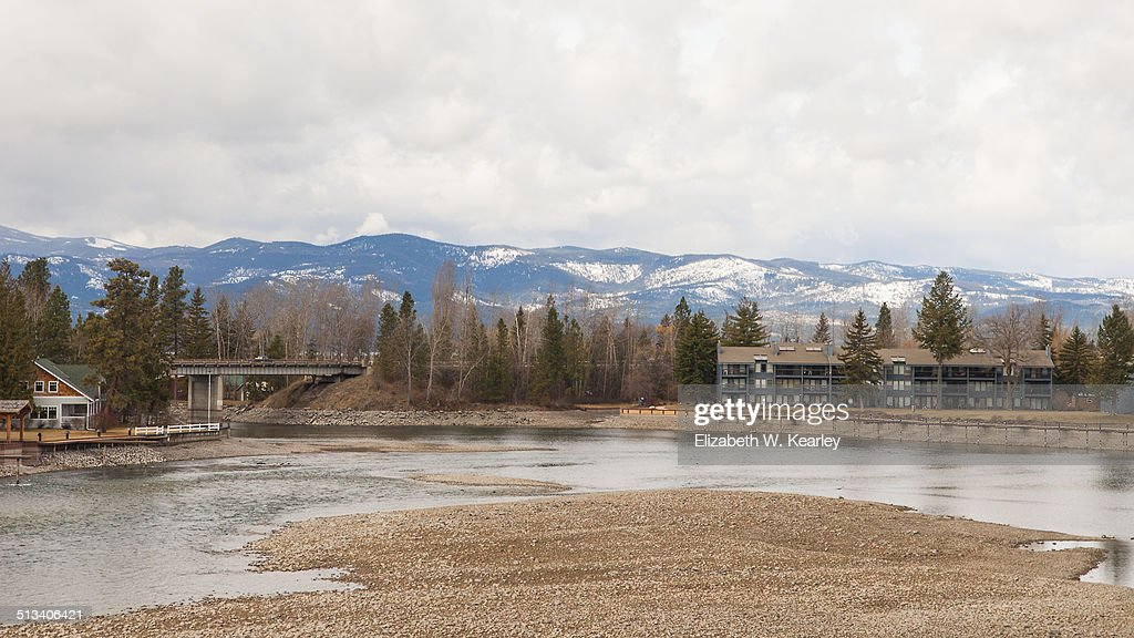 Big Fork River in Montana with snow on mountains