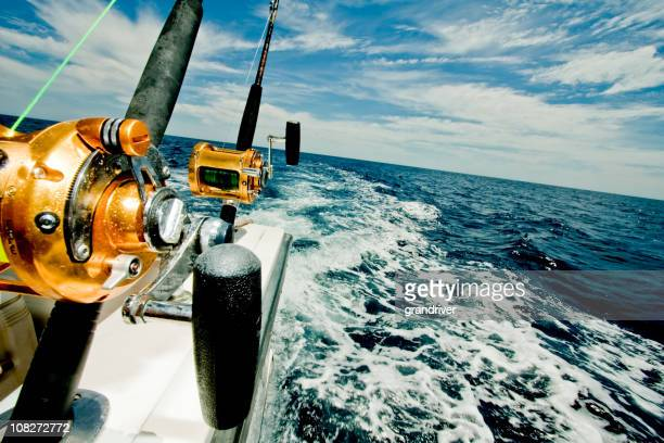 Big Game Fishing Reels on a Boat in the Ocean