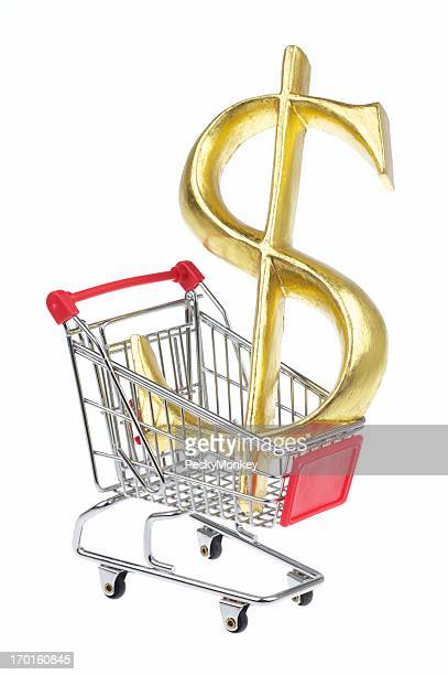Big Gold Dollar Sign Sits in Shopping Cart White Background