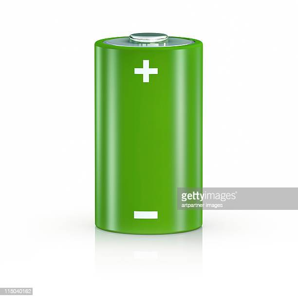 Big Green Battery on White Background