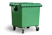 Big Green empty recycling bin with clipping path on white background