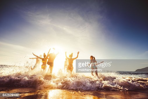 Big group friends sun beach travel : Stock Photo