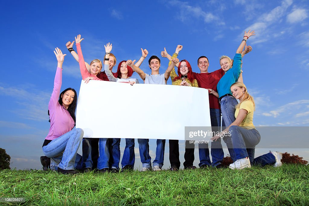 Big group of people holding placard. : Stock Photo