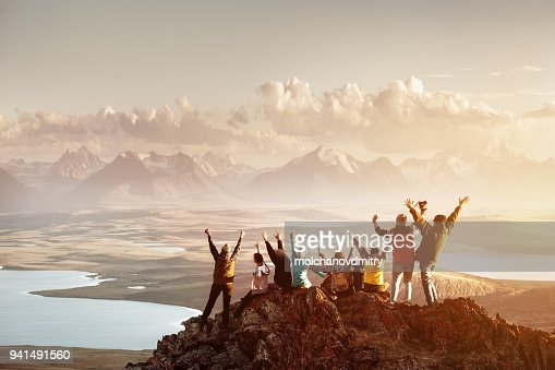 Big group of people success mountain top : Foto de stock