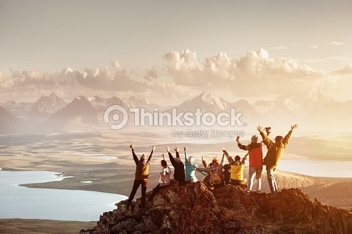 Big group of people success mountain top : Stock Photo