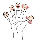 Big Hand with Cartoon Characters and Five Senses