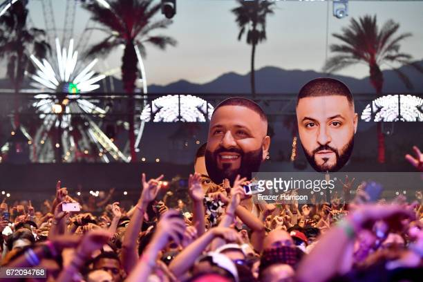 Big head cutouts of DJ Khaled are seen in the crowd at the Sahara Tent during day 3 of the 2017 Coachella Valley Music Arts Festival at the Empire...