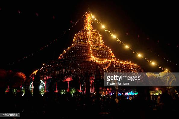 Big Horn Palace art installation by Shrine and Joel Dean Stockdill is seen during day 1 of the 2015 Coachella Valley Music Arts Festival at the...