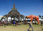 Big Horn Palace art installation by Shrine and Joel Dean Stockdill is seen during day 1 of the 2015 Coachella Valley Music And Arts Festival at The...