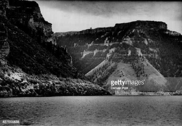 Big Horn Reservoir created by Yellowtail Dam south of Hardin Mont backs up 71 miles into Wyoming Cliffs rise hundreds of feet creating canyons of red...