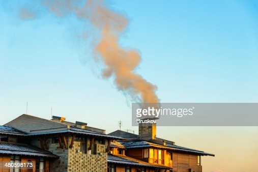 big house with a balcony in winter : Stock Photo